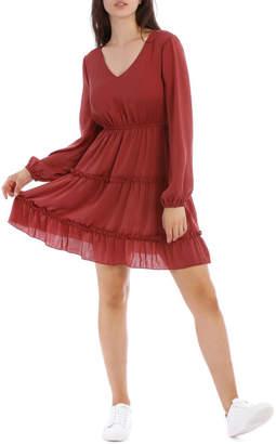 Miss Shop Ruffle Skirt Long Sleeve Dress
