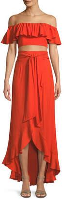 Jay Godfrey Ruffle Crop Top & A-Line Wrap Skirt Set