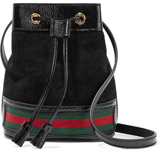 Gucci Ophidia Mini Textured Leather-trimmed Suede Bucket Bag - Black