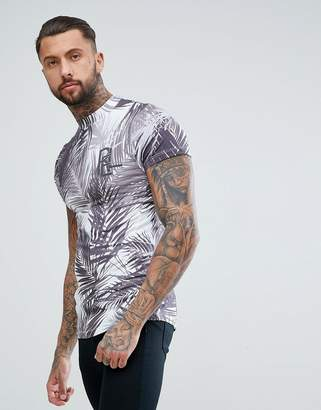 Religion muscle fit high neck t-shirt in blue with palm print
