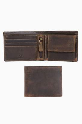 Next Mens Brown Leather Bifold Coin Pocket Wallet