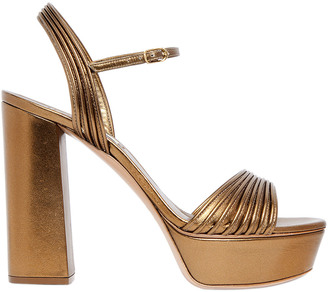 120mm Quilted Metallic Leather Sandals $750 thestylecure.com