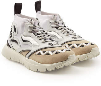 Valentino High-Top Sneakers with Mesh, Leather and Suede
