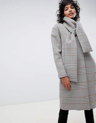 Asos check coat with neck tie detailing