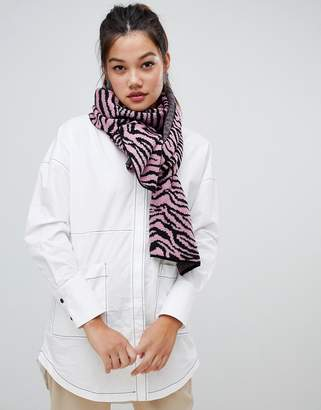 Asos Design DESIGN zebra print knitted scarf