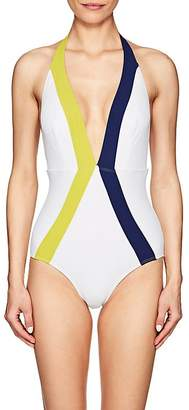 Flagpole Swim Women's Jade Colorblocked One-Piece Halter Swimsuit