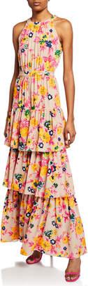 MSGM Floral-Print Halter Ruffle Maxi Dress