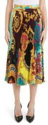 Versace Colorblock Mixed Print Pleated Midi Skirt