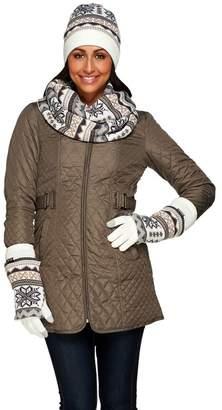 Muk Luks Women's Reversible Hat, Glove, Scarf Gift Set