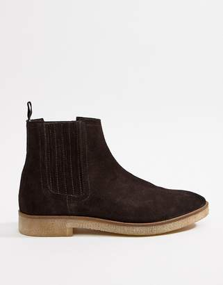 Asos DESIGN chelsea boots in brown suede with faux crepe sole