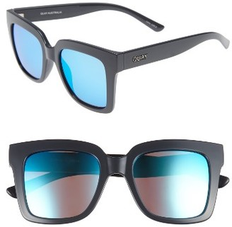 Women's Quay Australia Supine 51Mm Square Sunglasses - Grey/ Blue Mirror $50 thestylecure.com
