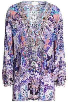 Camilla Crystal-Embellished Printed Silk Crepe De Chine Blouse