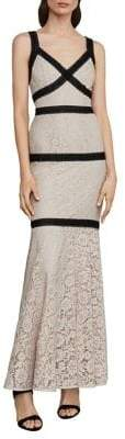 BCBGMAXAZRIA Sleeveless Banded Lace Gown