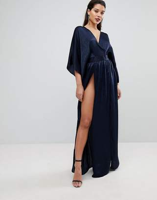 Flounce London Wrap Front Kimono Maxi Dress with Double Thigh Splits and Bodysuit