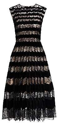 Oscar de la Renta Women's Sleeveless Lace & Velvet Striped A-Line Dress