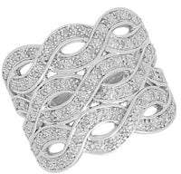 Lord & Taylor Sterling Silver, White Diamond Wave Ring