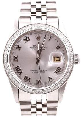 Rolex Datejust Stainless Steel Silver Roman Numeral Dial Diamond Bezel 36mm Mens Watch