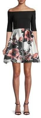 Betsy & Adam Floral-Print Fit-and-Flare Dress