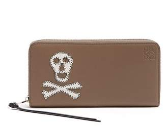 Loewe Skull Patch Zip Around Leather Wallet - Mens - Khaki Multi