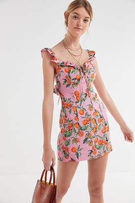 Finders Keepers Aranciata Ruffle Tie-Back Mini Dress