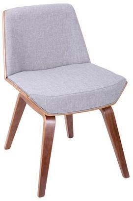 Lumisource Corazza Mid-Century Modern Chair in Walnut and Grey Fabric