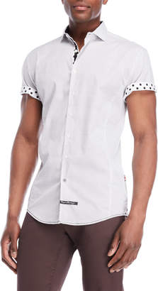 English Laundry White Polka Dot Sport Shirt