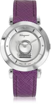 Salvatore Ferragamo Minuetto Silver Tone Stainless Steel Case and Purple Leather Strap Women's Watch