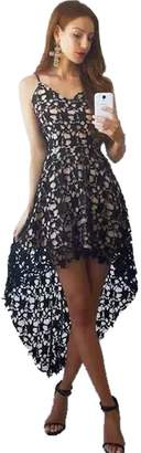 story. Fashion Women's V Neck Sleeveless Lace Hollow High Low Party Dress