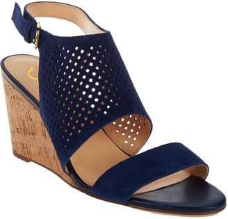 C. Wonder Perforated Suede Cork Wedge Sandals - Sheila