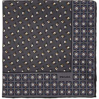 Prada MEN'S DIAMOND-DOT-PRINT SILK TWILL POCKET SQUARE