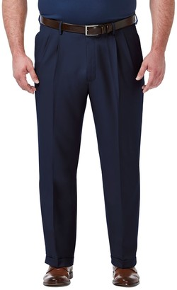 Haggar Big & Tall Premium Comfort Expandable-Waist Classic-Fit Stretch Pleated Dress Pants