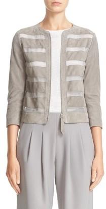 Women's Armani Collezioni Suede Stripe Jacket $1,895 thestylecure.com