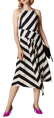 Karen Millen Sleeveless Striped Midi Dress