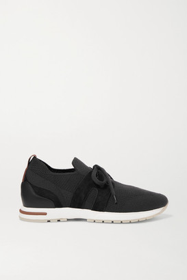 Loro Piana Flexy Lady Cashmere And Suede Sneakers - Black