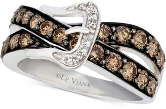 LeVian Le Vian Chocolatier Diamond Belt Buckle Ring (1-1/5 ct. t.w.) in 14k White Gold