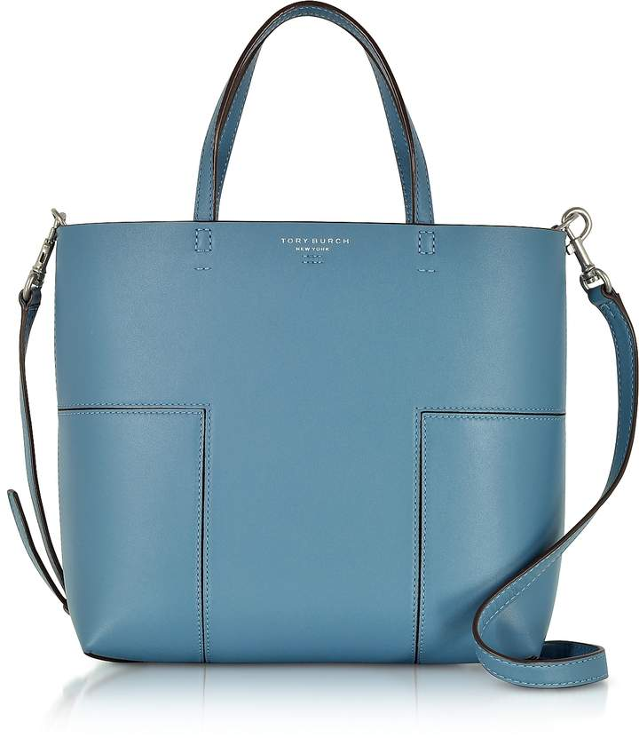 Tory Burch Block-T Blue Yonder Leather Mini Tote Bag - ONE COLOR - STYLE