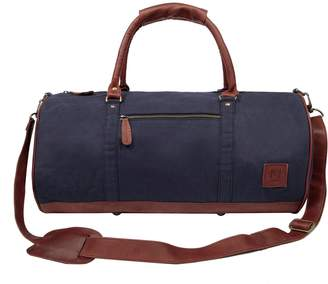 MAHI Leather - Gym Duffle In Navy Canvas and Brown Leather