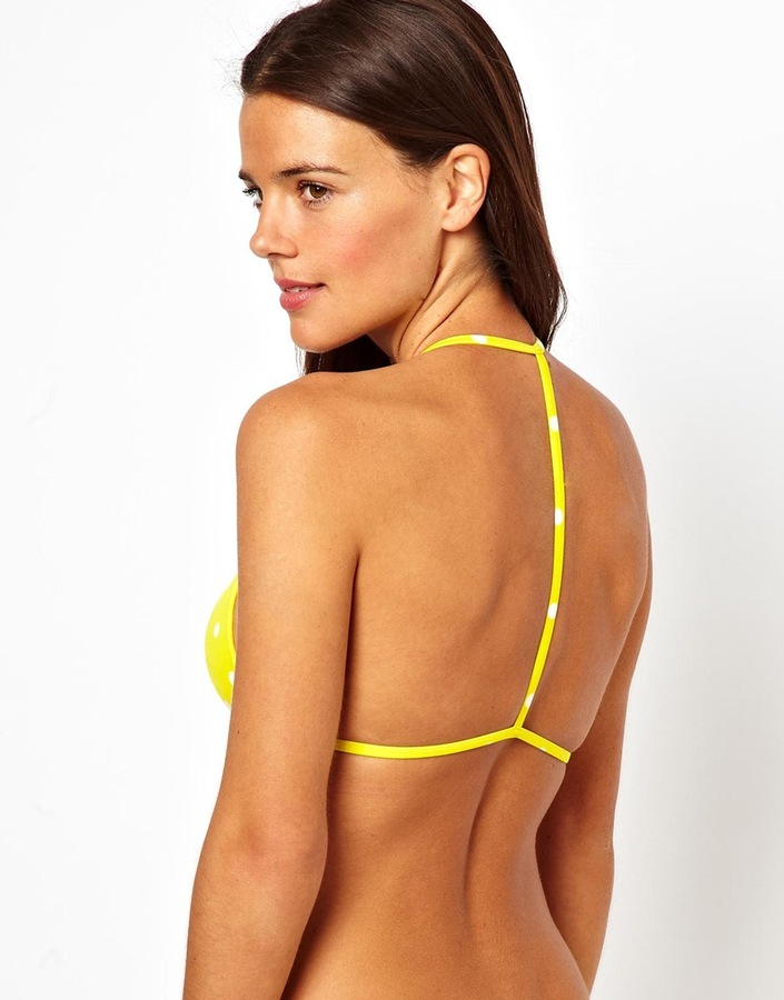 Asos Mix and Match Spot Moulded Triangle T Back Bikini Top - Multi