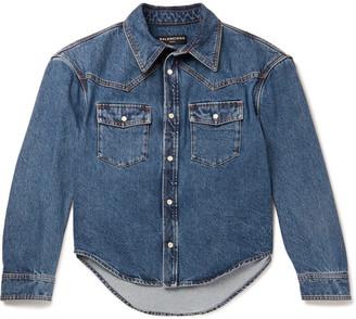 Balenciaga Cropped Stonewashed Denim Western Overshirt $695 thestylecure.com