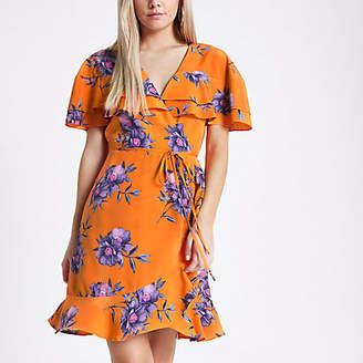 River Island Womens Petite Orange floral print wrap tea dress
