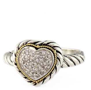 EFFY Balissima Sterling Silver, 18Kt. Yellow Gold & Diamond Heart Ring