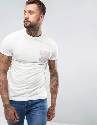 Asos T-Shirt With Aztec Pocket In Linen Mix