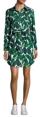 Milly Silk Leaf-Print Dress