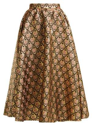 Rochas Floral Brocade Midi Skirt - Womens - Gold Multi