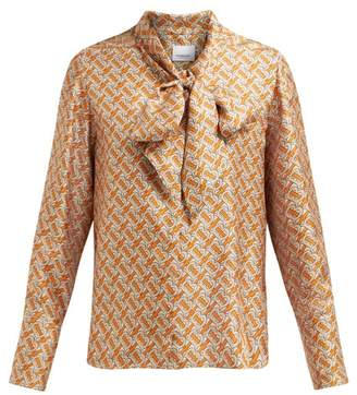 c19298829a87d Burberry Monogram Print Pussy Bow Silk Blouse - Womens - Orange Multi