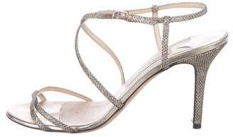 Jimmy Choo Glitter Crossover Strap Sandals