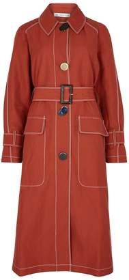 Rejina Pyo Hazel Contrast-stitch Linen-blend Trench Coat