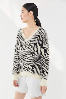 c1c133ea6a House Of Sunny Zebra Print Eyelash Sweater