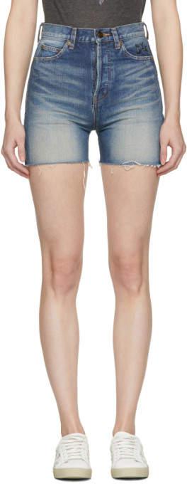 Blue Denim Embroidered Slim-fit Shorts