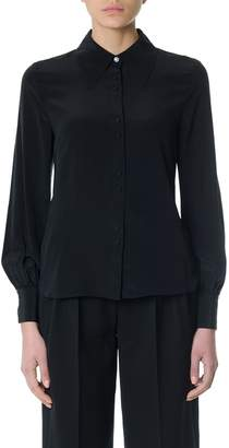 McQ Black Silk Blouse With Crystal Embellishment